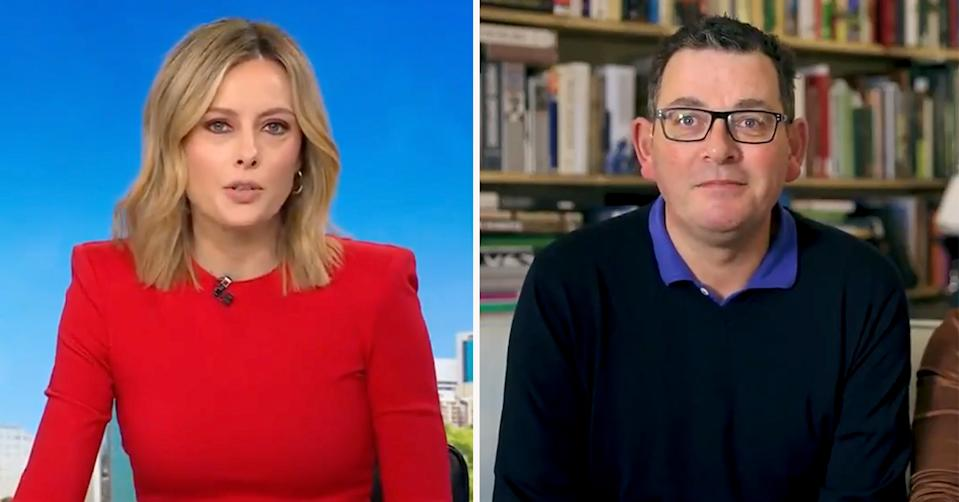 Today's Allison Langdon took a swipe at Victorian Premier Daniel Andrews, who shared a video about his back injury and returning to work. Photo: Nine/Twitter