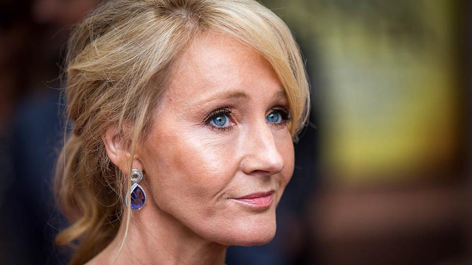 Harry Potter J. K. Rowling at a film premiere looks concerned