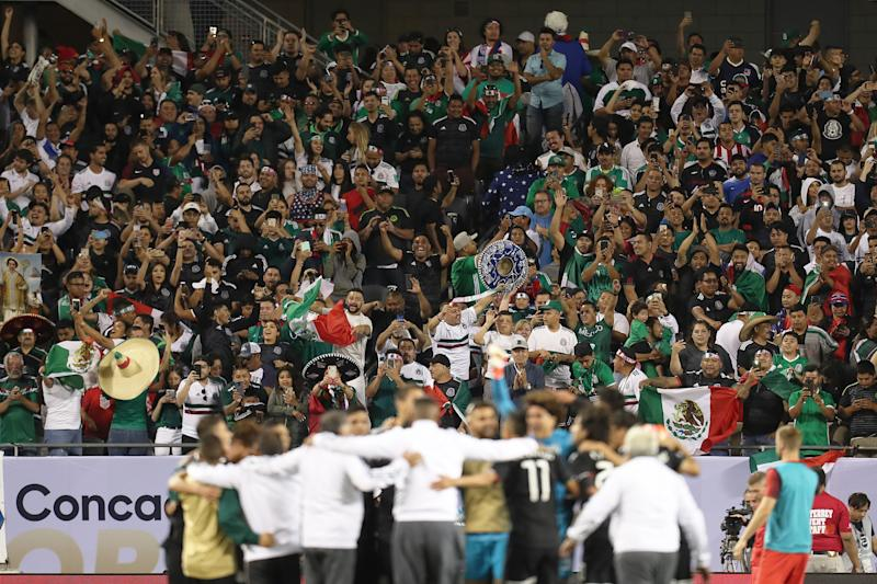 CHICAGO, IL - JULY 07: fans of Mexico celebrates their victory after the CONCACAF Gold Cup 2019 final match between United States and Mexico at Soldier Field on July 7, 2019 in Chicago, Illinois. (Photo by Omar Vega/Getty Images)
