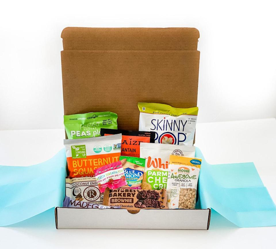 """<p><strong>Starts at $30 per month</strong></p><p>Never get hangry again with a monthly delivery of a grab bag of seven to 10 all-natural or organic snacks, including gluten-free options. Healthy Me Living also donates 10% of sales to No Kid Hungry, so you can feel good about your snack habit. </p><p><a class=""""link rapid-noclick-resp"""" href=""""https://www.healthymeliving.com/healthysnackboxes"""" rel=""""nofollow noopener"""" target=""""_blank"""" data-ylk=""""slk:BUY NOW"""">BUY NOW</a></p>"""
