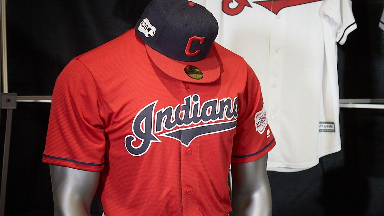 The Cleveland Indians unveiled new uniforms without the Chief Wahoo logo on Monday. Next season marks the first time in more than 70 years the mascot won't be on the team's uniforms. (AP)