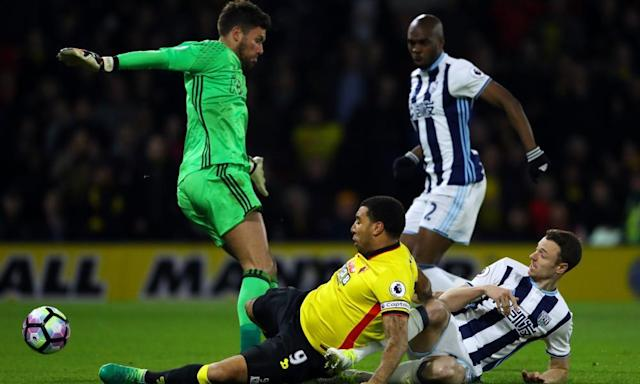 "<span class=""element-image__caption"">Troy Deeney scores Watford's second goal past West Bromwich Albion's Ben Foster in a 2-0 win that lifts Walter Mazzarri's side up to ninth in the table.</span> <span class=""element-image__credit"">Photograph: Warren Little/Getty Images</span>"