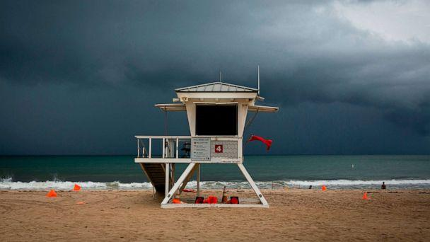 PHOTO: A lifeguard tower is seen on the shore in at Las Olas Beach in Fort Lauderdale, Florida on September 2, 2019. (Eva Marie Uzcategui/AFP/Getty Images)