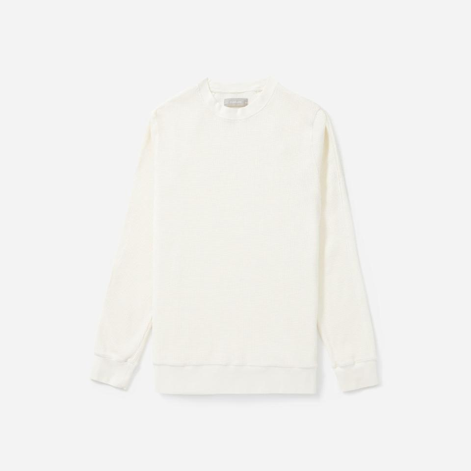 """<p><strong>everlane</strong></p><p>everlane.com</p><p><strong>$40.00</strong></p><p><a href=""""https://go.redirectingat.com?id=74968X1596630&url=https%3A%2F%2Fwww.everlane.com%2Fproducts%2Fmens-waffle-knit-ls-crew-offwhite&sref=https%3A%2F%2Fwww.menshealth.com%2Fstyle%2Fg25171257%2Fbest-thermal-shirts-for-men%2F"""" rel=""""nofollow noopener"""" target=""""_blank"""" data-ylk=""""slk:BUY IT HERE"""" class=""""link rapid-noclick-resp"""">BUY IT HERE</a></p><p>One of our favorite men's waffle thermal shirts, this cotton edition from Everlane boasts a flattering cut that doesn't scream """"long johns."""" It comes in a different color for everyday of the week, and at this price, we'd suggest grabbing more than one.</p>"""