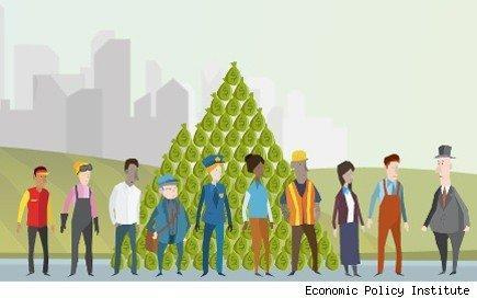 photo illustration of workers from various professions in front of stack of moneybags