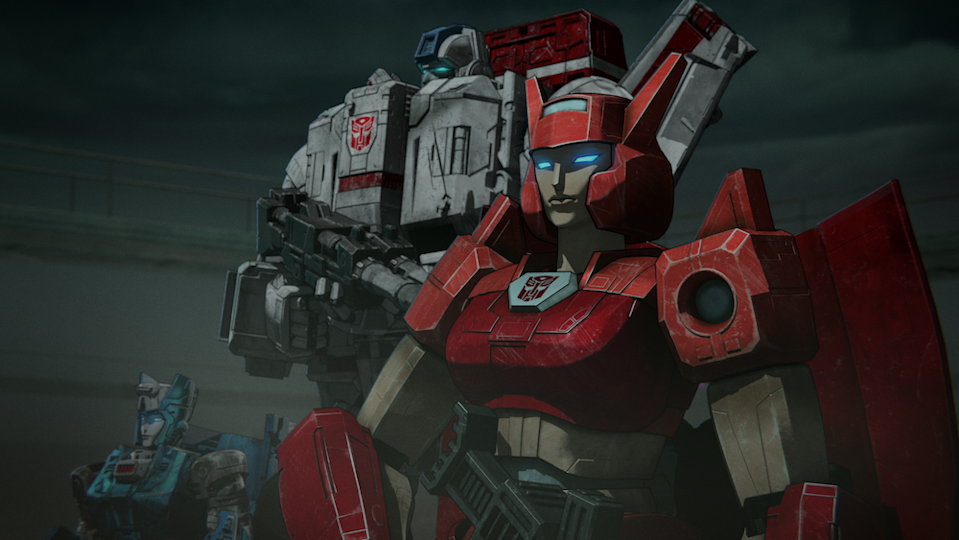 Jetfire (Keith Silverstein) and Elita-1 (Linsay Rousseau) team up in  Transformers: War for Cybertron Chapter 2: Earthrise. (PHOTO: Netflix)