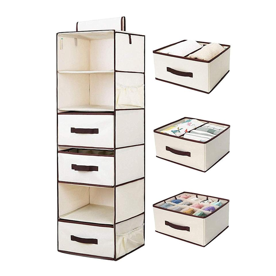 """<p>Made with sturdy cardboard and featuring a thickened and riveted bar, the <a href=""""https://www.popsugar.com/buy/StorageWorks%20Hanging%20Closet%20Shelves-465750?p_name=StorageWorks%20Hanging%20Closet%20Shelves&retailer=amazon.com&price=40&evar1=casa%3Auk&evar9=46355519&evar98=https%3A%2F%2Fwww.popsugar.com%2Fhome%2Fphoto-gallery%2F46355519%2Fimage%2F46355536%2FStorageWorks-Hanging-Closet-Shelves&list1=college%2Corganization%2Cclosets%2Csmall%20spaces%2Ccloset%20organization%2Csmall%20space%20living%2Cdorms&prop13=api&pdata=1"""" rel=""""nofollow noopener"""" target=""""_blank"""" data-ylk=""""slk:StorageWorks Hanging Closet Shelves"""" class=""""link rapid-noclick-resp"""">StorageWorks Hanging Closet Shelves</a> ($40, originally $50) can hold an impressive 40 pounds of weight and offers an insane amount of compartment combinations.</p>"""
