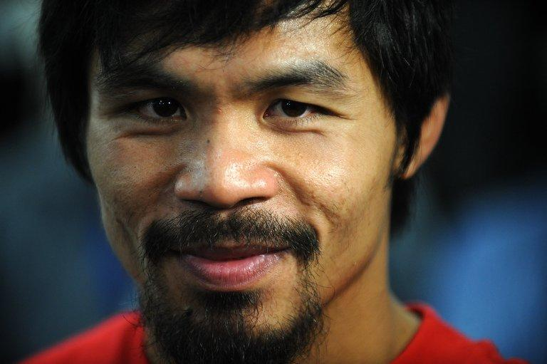 Philippine boxing hero Manny Pacquiao during a press conference in Hollywood, California, on April 20, 2011
