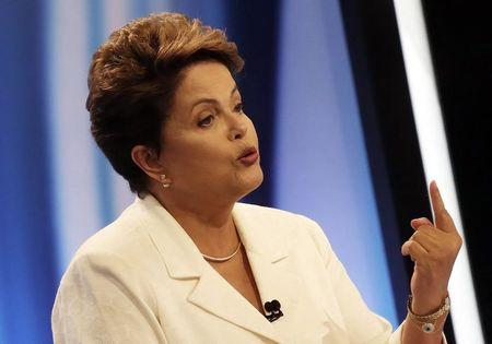 Brazil's President and Workers' Party (PT) presidential candidate Rousseff takes part in a TV debate in Sao Paulo