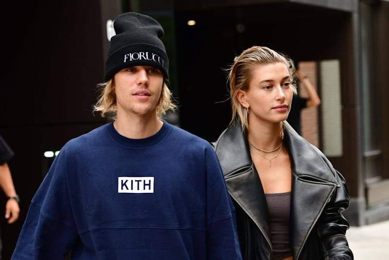 Justin Bieber and Hailey Baldwin go for a stroll on Sept. 14, 2018, in New York City. (Photo: James Devaney/GC Images)