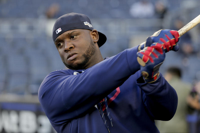 FILE - In this Oct. 4, 2019, file photo, Minnesota Twins third baseman Miguel Sano prepares to take batting practice before Game 1 of an American League Division Series baseball game against the New York Yankees, in New York. Minnesota Twins slugger Miguel Sanó told a Dominican Republic newspaper he's being blackmailed, having been accused of kidnapping and assault. The Twins said Thursday, June 18, 2020, they're aware of the report in El Nuevo Diario and still trying to gathering more information about the situation surrounding Sanó, who signed a three-year, $30 million contract in January and will move to first base if and when the 2020 season begins. (AP Photo/Seth Wenig, File)
