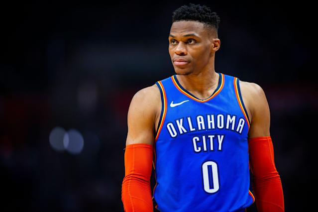 "<a class=""link rapid-noclick-resp"" href=""/nba/players/4390/"" data-ylk=""slk:Russell Westbrook"">Russell Westbrook</a>'s contentious relationship with <a class=""link rapid-noclick-resp"" href=""/nba/teams/utah/"" data-ylk=""slk:Utah Jazz"">Utah Jazz</a> fans hit a new level Monday. (Getty)"