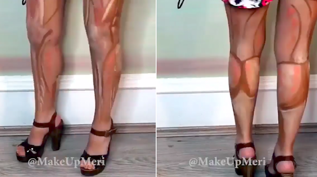 So apparently, leg contouring is a thing. Are you game to try this summer? (Photo: Instagram/Leg contouring)
