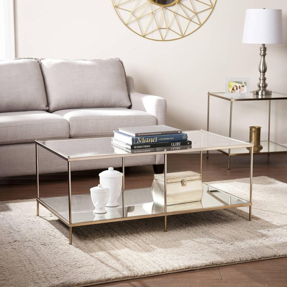<p>This <span>Sei Glam Metal and Glass Coffee Table</span> ($189) looks way more expensive than it is, and it's thanks to the combination of glass and metal. It is stylish, practical, and modern.</p>
