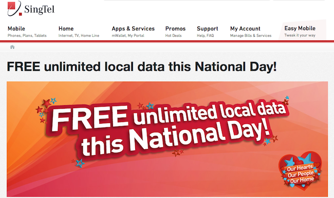 SingTel Is Being A Darling, Offers Free Unlimited Data This National