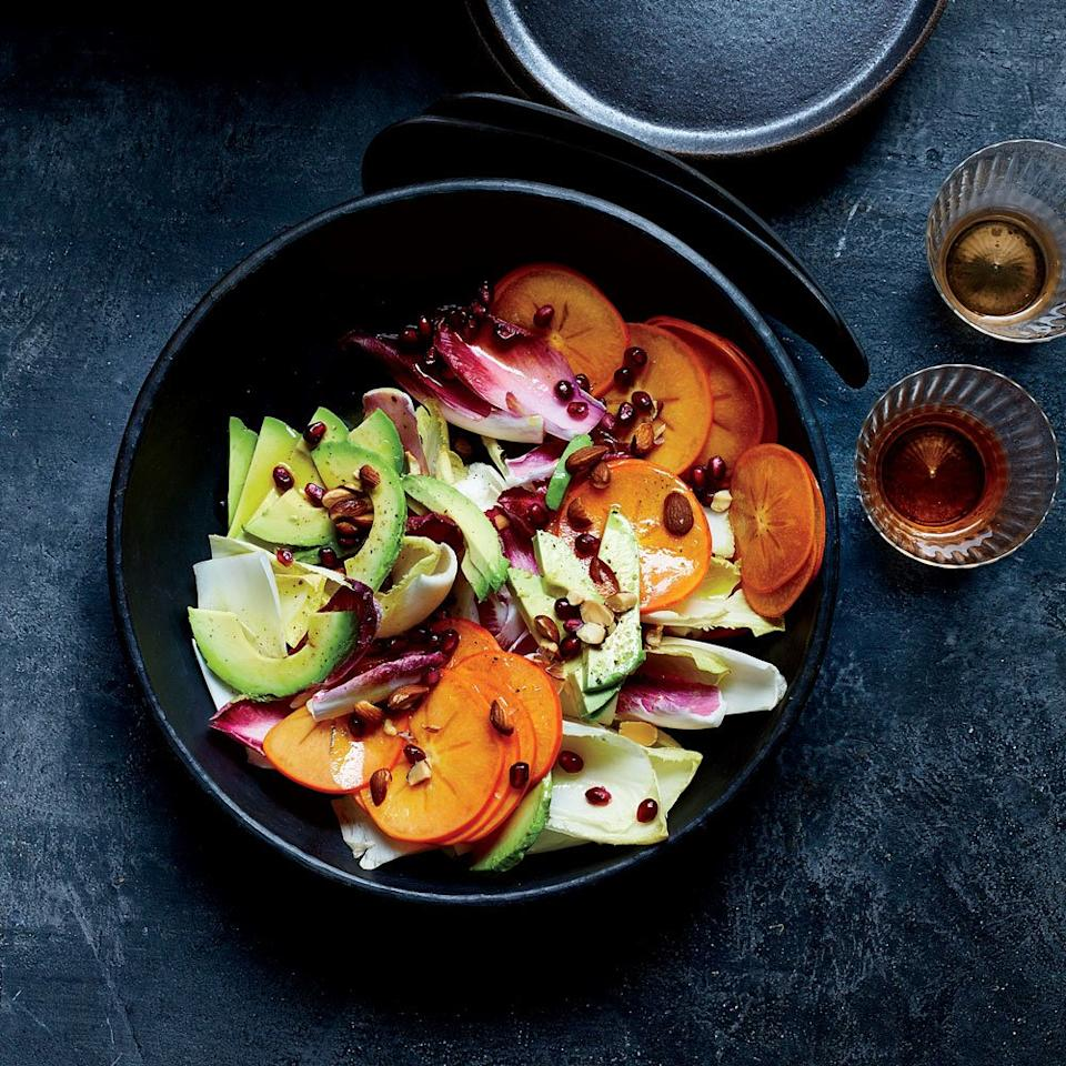 """<p>The combination of buttery avocado oil and bracing honey vinegar (made from mead) makes for a fantastic vinaigrette in this crunchy, colorful and delicious salad.</p><p><a href=""""https://www.foodandwine.com/recipes/persimmon-and-endive-salad-honey-vinegar-and-avocado-oil-vinaigrette"""">GO TO RECIPE</a></p>"""