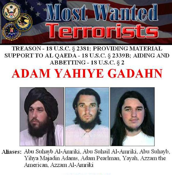 This image obtained from the FBI shows the wanted poster for Al-Qaeda spokesman Adam Yahiye Gadahn (AFP Photo/)