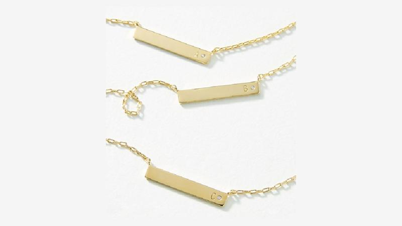 Buy this perfect Monogram Bar Necklace ahead of the next birthday on your list. (Photo: Anthropologie)