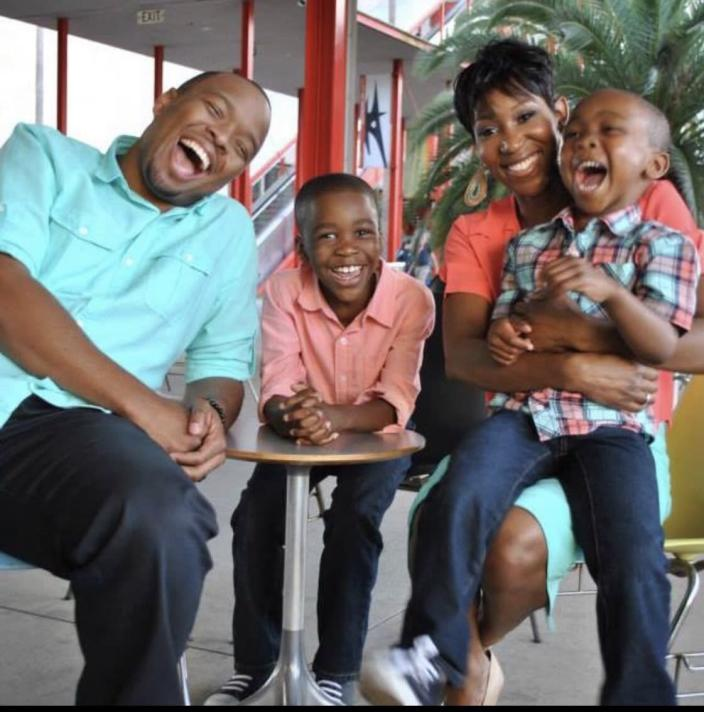 Los Angeles comedian Kevin Fredericks with his wife and two sons, ages 12 and 10. (Kevin Fredericks)