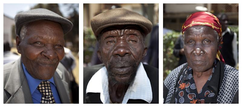 This combination photograph shows, left to right, Kenyans Wambuga Wa Nyingi, Paulo Muoka Nzili, and Jane Muthoni Mara, who brought a case at Britain's High Court concerning Mau Mau veterans, at the offices of the Kenya Human Rights Commission in Nairobi, Kenya Friday, Oct. 5, 2012. Britain's High Court ruled Friday that the three Kenyans tortured during the Mau Mau rebellion against British colonial rule can proceed with compensation claims against the British government. (AP Photo/Ben Curtis)