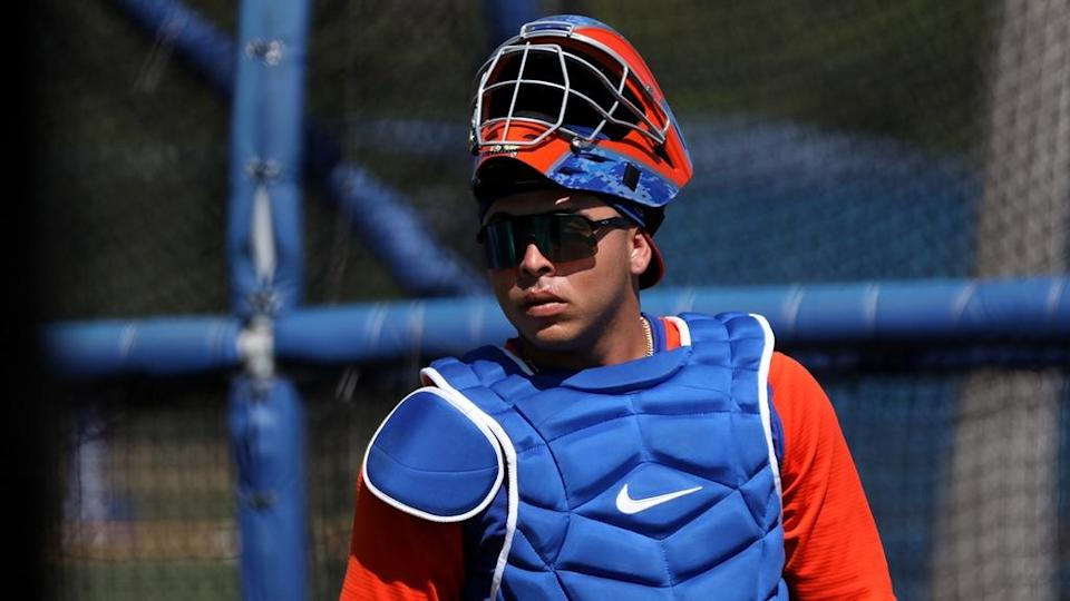 Mets prospect Francisco Alvarez at 2021 spring training in Port St. Lucie, Fla.