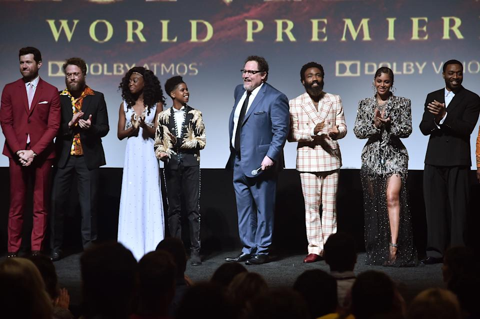 "HOLLYWOOD, CALIFORNIA - JULY 09: (L-R) Billy Eichner, Seth Rogen, Shahadi Wright Joseph, JD McCrary, Director/Producer Jon Favreau, Donald Glover, Beyonce Knowles-Carter, and Chiwetel Ejiofor attend the World Premiere of Disney's ""THE LION KING"" at the Dolby Theatre on July 09, 2019 in Hollywood, California. (Photo by Alberto E. Rodriguez/Getty Images for Disney)"