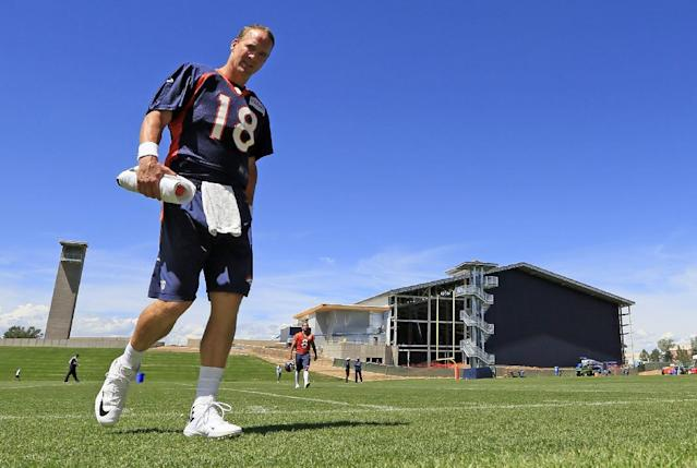 Denver Broncos quarterback Peyton Manning leaves the field following a joint practice between the Denver Broncos and the Houston Texans on Thursday, Aug. 21, 2014, in Englewood, Colo. (AP Photo/Jack Dempsey)