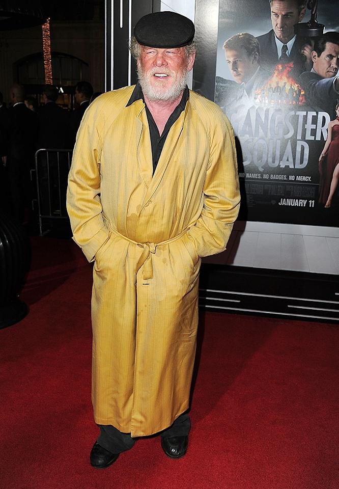 "Nick Nolte wore a ""pajama-inspired ensemble"" to the premiere of ""Gangster Squad."""