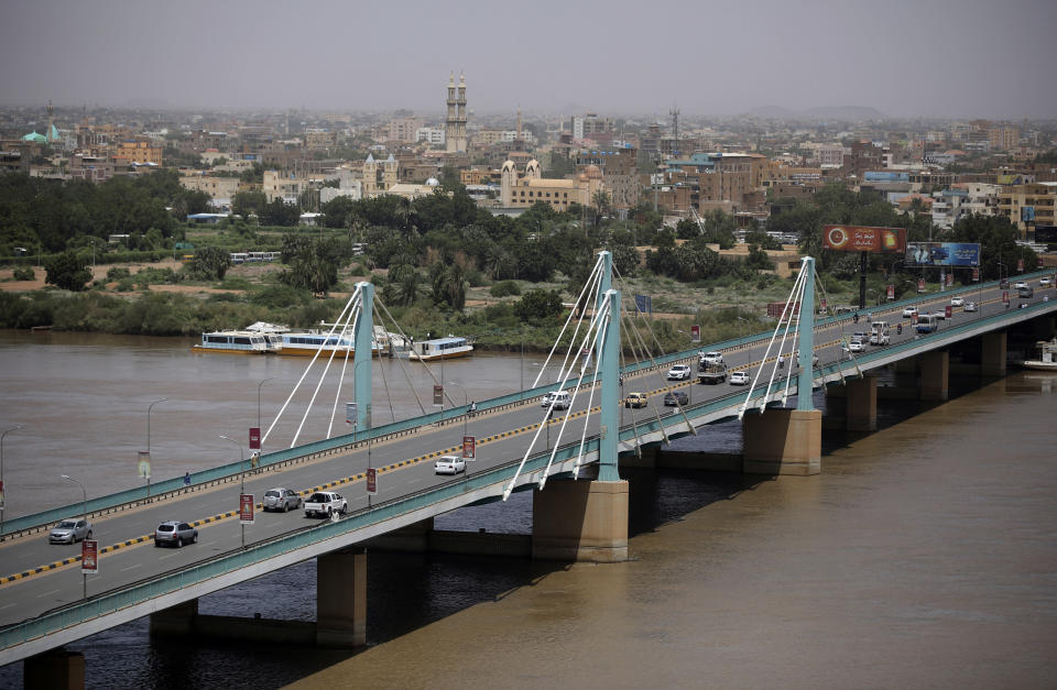 Traffic moves on a bridge in Sudan's capital Khartoum, Tuesday, Sept. 21, 2021. Sudanese authorities reported a coup attempt on Tuesday by a group of soldiers but said the attempt failed and that the military remains in control. The development underscored the fragility of Sudan's path to democracy, more than two years after the military's overthrow of longtime autocrat Omar al-Bashir amid a public uprising against his three-decade rule. (AP Photo/Marwan Ali)