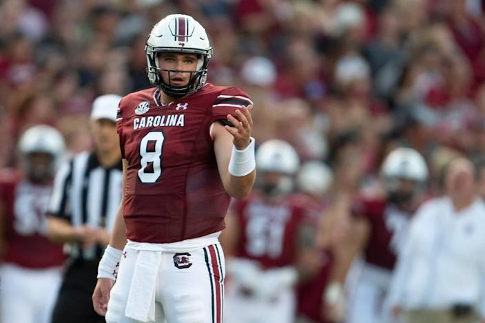 After coming to South Carolina to be a graduate assistant coach, Zeb Noland (8) wound up starting the Gamecocks' first two games, both victories, at quarterback.