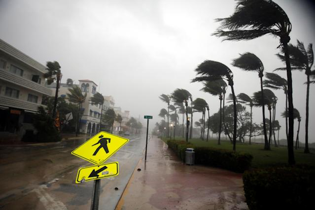 <p><strong>Miami Beach</strong><br>Heavy wind is seen along Ocean Drive in South Beach as Hurricane Irma arrives at south Florida, in Miami Beach, Fla,, Sept. 10, 2017. (Photo: Carlos Barria/Reuters) </p>