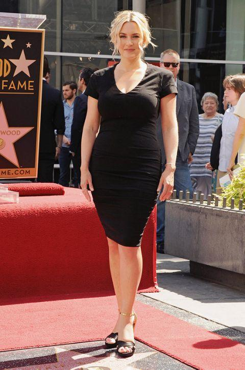 Kate Winslet, black dress, post-pregnancy body, Walk of Fame Star.