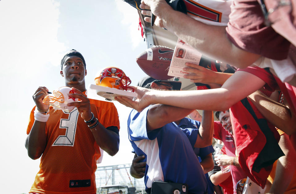 Tampa Bay has surrounded Jameis Winston with weapons, positioning him to make a value leap in fantasy. (Loren Elliott/Tampa Bay Times via AP)