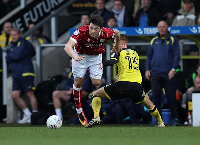 "Soccer Football - Championship - Burton Albion vs Bristol City - Pirelli Stadium, Burton-on-Trent, Britain - March 10, 2018 Bristol CityÕs Milan Djuric in action with Burton AlbionÕs Tom Naylor Action Images/John Clifton EDITORIAL USE ONLY. No use with unauthorized audio, video, data, fixture lists, club/league logos or ""live"" services. Online in-match use limited to 75 images, no video emulation. No use in betting, games or single club/league/player publications. Please contact your account representative for further details."