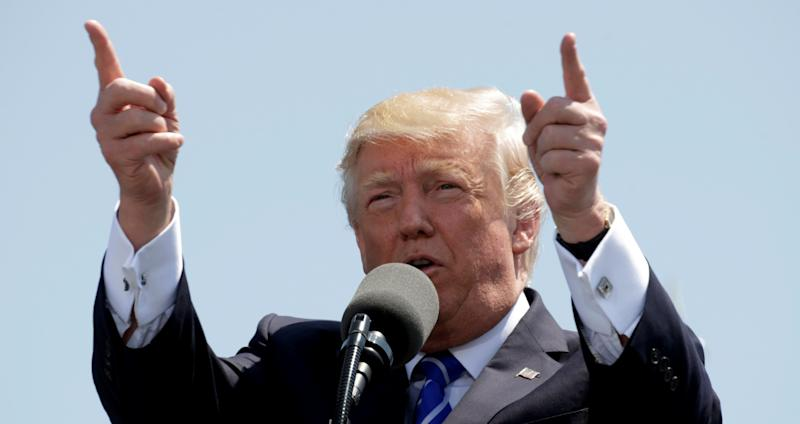 President Donald Trump speaks during the United States Coast Guard Academy Commencement Ceremony in New London, Connecticut U.S., May 17, 2017.