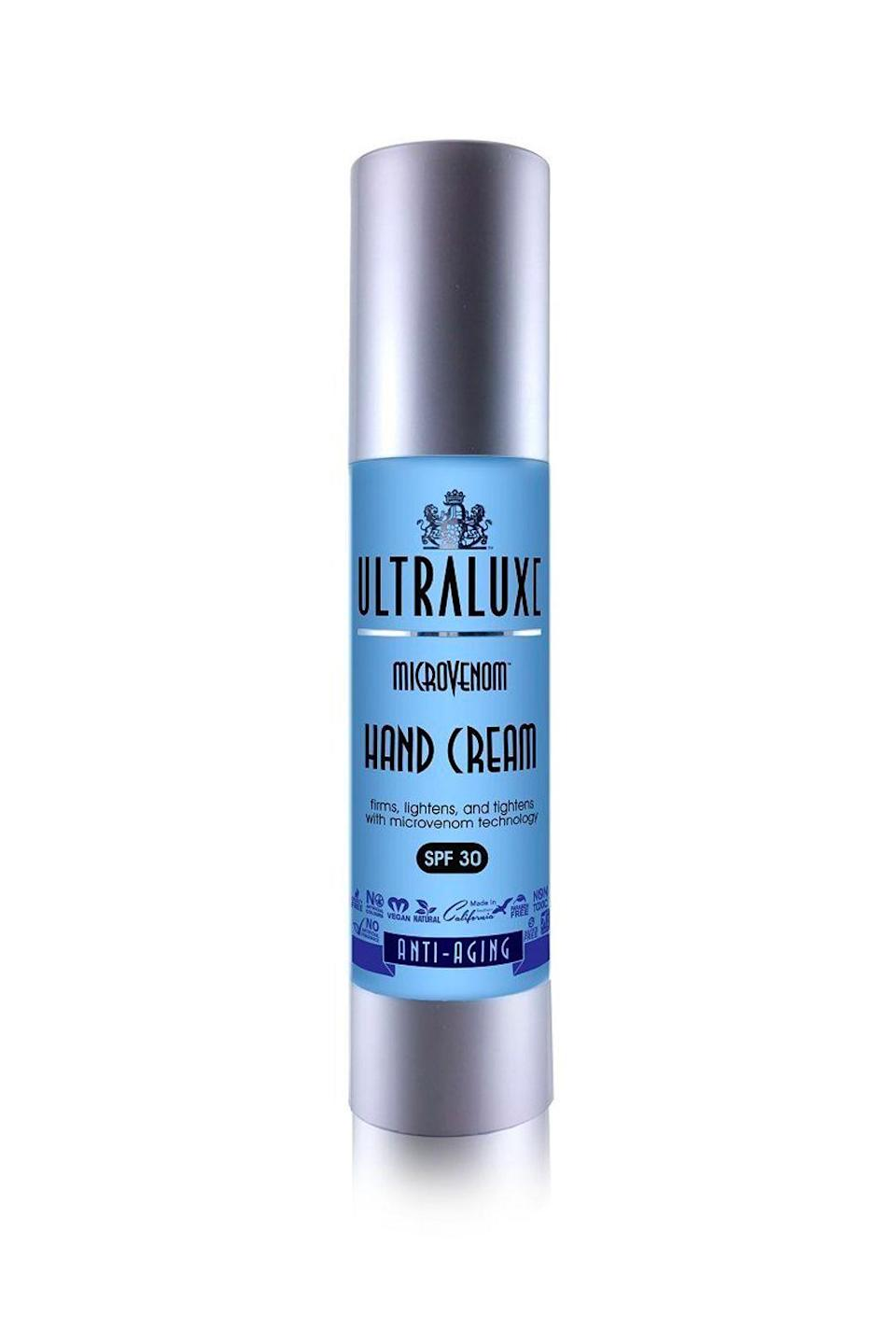 """<p><strong>ULTRALUXE SKIN CARE</strong></p><p>amazon.com</p><p><strong>$29.50</strong></p><p><a href=""""https://www.amazon.com/dp/B01MR2EILO?tag=syn-yahoo-20&ascsubtag=%5Bartid%7C10049.g.36396827%5Bsrc%7Cyahoo-us"""" rel=""""nofollow noopener"""" target=""""_blank"""" data-ylk=""""slk:Shop Now"""" class=""""link rapid-noclick-resp"""">Shop Now</a></p><p>Let me introduce to you the two brightening stars in this SPF hand cream: bearberry extract and <a href=""""https://www.cosmopolitan.com/style-beauty/beauty/g12091058/best-vitamin-c-serum-face-skin/"""" rel=""""nofollow noopener"""" target=""""_blank"""" data-ylk=""""slk:vitamin C"""" class=""""link rapid-noclick-resp"""">vitamin C</a>. Together <strong>these two help brighten up dull skin,</strong> while the formula's antioxidants ('sup, green tea extract) work to keep your hands soft and smooth.</p>"""