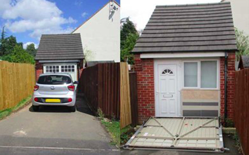 Secret leicestershire house hidden behind fake garage doors for House behind house designs