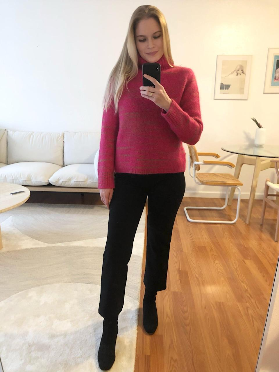 <p>Here, I dressed up the <span>Italian Spacedye Sweater</span> ($110) with some black trousers and cute booties.</p>