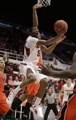Stanford's Chasson Randle (5) lays up a shot against Oregon State during the first half of an NCAA college basketball game on Sunday, Feb. 3, 2013, in Stanford, Calif. (AP Photo/Ben Margot)