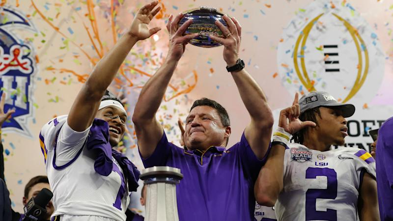 Ed Orgeron, once ridiculed over imperfections, is unapologetically perfect as LSU joins college football greats