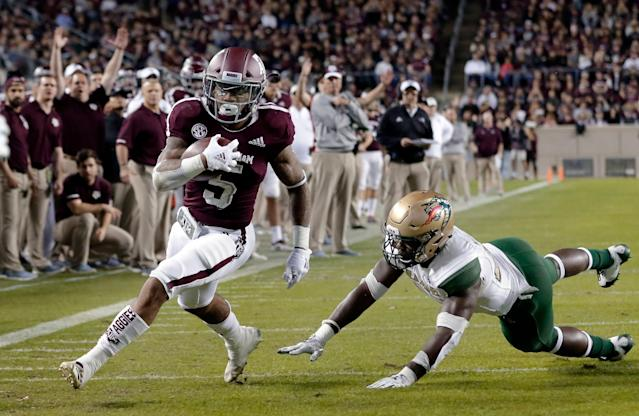 Texas A&M running back Trayveon Williams was chosen in the sixth round by the Cincinnati Bengals. (AP Photo/Michael Wyke)