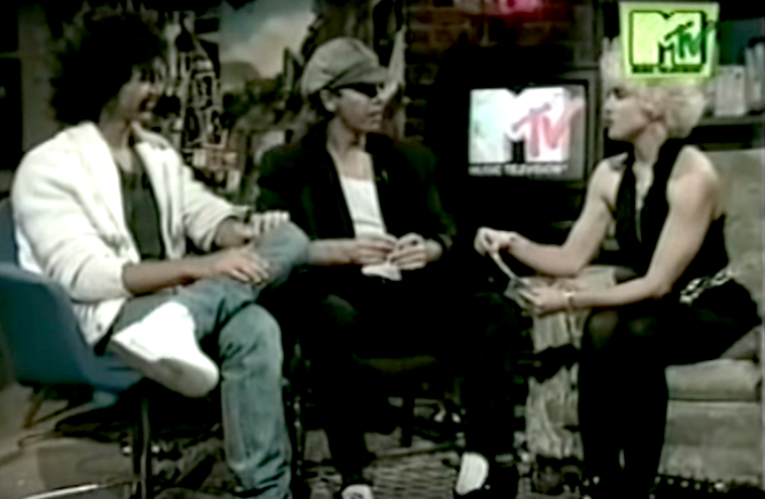 """""""Make My Video"""" contest winners Angel Gracia and Cliff Guest with Madonna on MTV in 1986 (photo: YouTube)"""