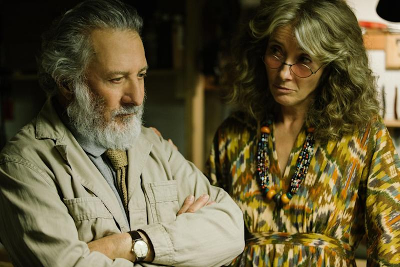 "In the funniest work of her career, a culinarily challenged Thompson scurries around in bohemian muumuus, sloshing on about Italian birds and train schedules. Every time she appears in ""The Meyerowitz Stories"" -- and it isn't hardly enough -- she is all the mise en scène this movie needs. No one can better land a line like, ""He's babyfaced but sinewy, like an old lover of mine, Willem Dafoe."""