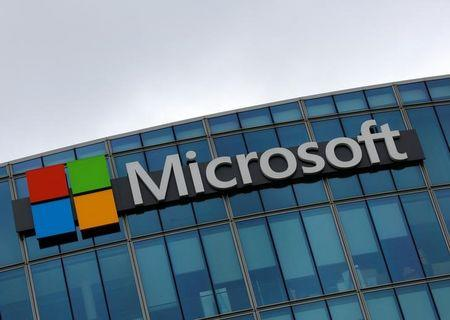 The logo of Microsoft is pictured in Issy-les-Moulineaux