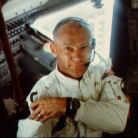 Apollo 11 astronaut Buzz Aldrin poses for a snapshot while inside the Lunar Module in this July 1969 NASA image. Aldrin and astronaut Neil Armstrong were the first humans to land and walk on the moon on July 20, 1969.