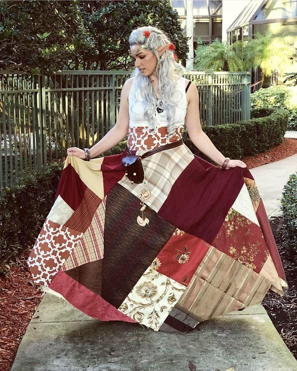 """<p>This patchwork skirt would be a fun costume for quilters to create. You could buy new fabric or just use leftover scraps from other projects.</p><p><strong>See more at <a href=""""https://www.instagram.com/p/Brd60xhHg7g/"""" rel=""""nofollow noopener"""" target=""""_blank"""" data-ylk=""""slk:@inelegantcosplay"""" class=""""link rapid-noclick-resp"""">@inelegantcosplay</a>.</strong></p><p><strong><a class=""""link rapid-noclick-resp"""" href=""""https://www.amazon.com/Brother-XM2701-Lightweight-Buttonholer-Instructional/dp/B00JBKVN8S?tag=syn-yahoo-20&ascsubtag=%5Bartid%7C10050.g.22985658%5Bsrc%7Cyahoo-us"""" rel=""""nofollow noopener"""" target=""""_blank"""" data-ylk=""""slk:SHOP SEWING MACHINES"""">SHOP SEWING MACHINES</a><br></strong></p>"""