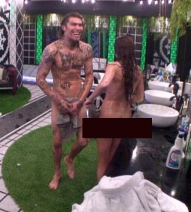 Marco and Laura running around naked in bathroom. Photo: Channel 5
