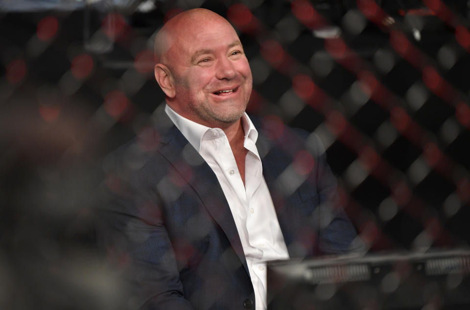 JACKSONVILLE, FLORIDA - MAY 09: UFC president Dana White congratulates Bryce Mitchell (not pictured) after his victory during the UFC 249 event at VyStar Veterans Memorial Arena on May 09, 2020 in Jacksonville, Florida. (Photo by Jeff Bottari/Zuffa LLC)