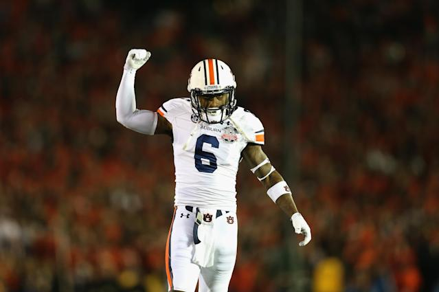 PASADENA, CA - JANUARY 06: Defensive back Jonathon Mincy #6 of the Auburn Tigers reacts as they take on the Florida State Seminoles during the 2014 Vizio BCS National Championship Game at the Rose Bowl on January 6, 2014 in Pasadena, California. (Photo by Jeff Gross/Getty Images)