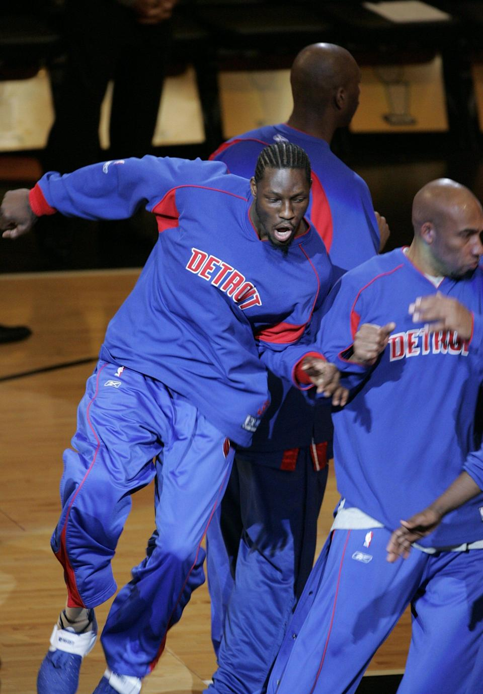 Pistons' Ben Wallace during pregame introductions before facing the Spurs in Game 7 of the NBA Finals on June 23, 2005 at the SBC Center in San Antonio, Texas.
